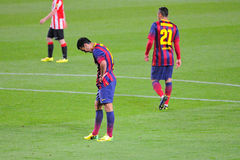Pedro Rodriguez, F.C Barcelona player, in action against Athletic Bilbao Royalty Free Stock Image
