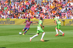 Pedro Rodriguez (left) in action Getafe Club de Futbol at the Camp Nou Stadium Stock Photo