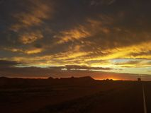 Pedy Sun Satz Coober und Opale Süd-Bergbaustadt Australiens stockbild