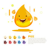 Pee character and colour level. infographic -. Illustration Royalty Free Stock Photo