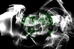 Pee Pee Township city smoke flag, Ohio State, United States Of A. Merica stock images