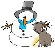 Pee On The Snowman. This illustration depicts a dog next to a snowman with a yellow spot Royalty Free Stock Photography