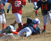 Pee Wee Football. Peewee football players pile up on competition and accidentally get one of their own Royalty Free Stock Photo