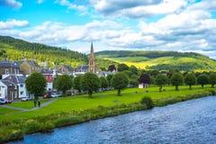 Peebles,苏格兰,英国全景有河花呢的 免版税库存照片