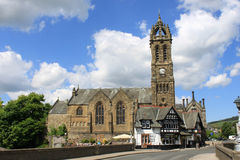 Peebles Old Parish Church from River Tweed bridge Royalty Free Stock Image