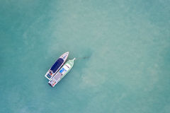 Peed boat parked in the sea at Chalong bay, Phuket province, Tha. Top view speed boat parked in the sea at Chalong bay, Phuket province, Thailand. Aerial view Stock Photography