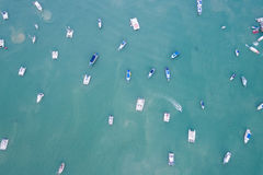 Peed boat parked in the sea at Chalong bay, Phuket province, Tha. Top view speed boat parked in the sea at Chalong bay, Phuket province, Thailand. Aerial view Stock Image