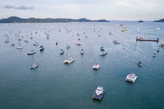 Peed boat parked in the sea at Chalong bay, Phuket province, Tha Royalty Free Stock Images