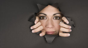 Peek a Boo Woman Breaks In Tearing Paper Royalty Free Stock Images
