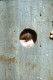 Peek a boo. Young child peeking through a old hole in the barn stock image