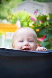 Peek-a-boo baby. Blue eyed baby boy playing peek-a-boo on chair stock photo