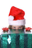Peek a boo present vertical Royalty Free Stock Image