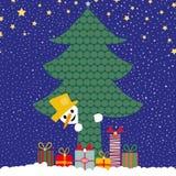 Peek a boo snowman stock illustration