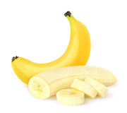Peeled banana. Peeled sliced banana over white background Stock Images