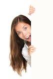 peeking женщина знака людей Стоковые Изображения