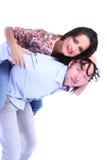 Peeking человека и женщины стоковая фотография