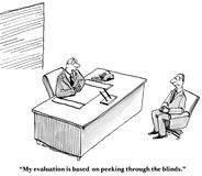 Peeking through the Blinds. Business cartoon showing boss saying to employee, 'My evaluation is based on peeking through the blinds Royalty Free Stock Photos