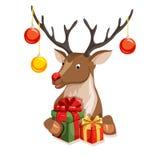 Peeking cartoon reindeer Stock Photography