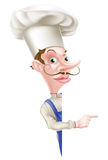 Peeking Chef Pointing Stock Image