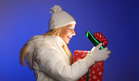 Peeking into the Christmas Present Stock Photography