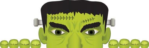 Peeking Frankenstein Header Illustration stock illustration