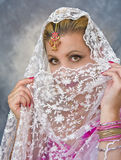 Peeking Over Veil Stock Photography