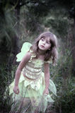 Peeking in the woods. A soft focus image of a young girl in the forest wearing a fairy costume, soft focus image with vignetting on the edges for more emphasis stock photography