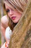 Peeks biondi della donna intorno all'albero immagine stock
