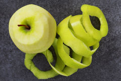 Peel of apple. On a grey background Stock Photo