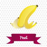 Peel of banana  on white Royalty Free Stock Images