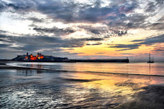 Peel Castle with dramatic sunset sky Stock Images