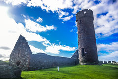 Peel Castle`s tower at Peel, Isle of Man Stock Images