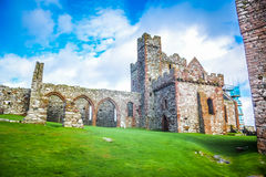 Peel Castle on St Patrick`s Isle in Peel, the Isle of Man Royalty Free Stock Photos