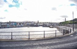 Peel city landscape view, Isle of Man royalty free stock photography