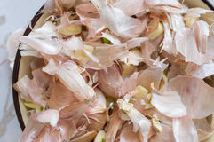 Peel garlic cloves top view Stock Photos