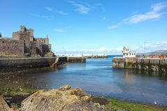 Peel harbour Isle of Man. The River Neb flows into the little harbour at Peel Isle of Man British Isles and out into the Irish Sea royalty free stock image