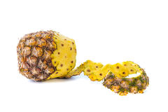 Peel off pineapple on white background Stock Photography