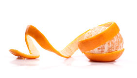 Peel of an orange. On white background royalty free stock photography