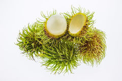 Peel rambutans isolated on white background Stock Images