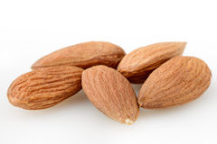 Peeled almond seed on white background Stock Image