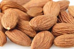 Peeled almond seed on white background Royalty Free Stock Photo