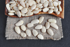 Peeled almonds, blanched Almond. Royalty Free Stock Images
