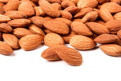 Peeled almonds isolated on a white background Stock Image
