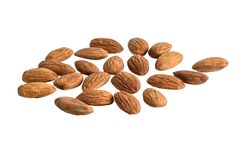 Peeled almonds isolated on white background. With clipping path royalty free stock image