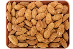Peeled almonds kernels. Close-up view to peeled almonds kernels Stock Photography