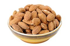 Peeled almonds kernels. Close-up view to peeled almonds kernels Royalty Free Stock Image
