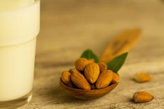Peeled almonds in a spoon and a glass of milk on wooden table Stock Image