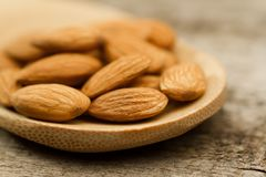 Peeled almonds in spoon on wooden background Royalty Free Stock Photo