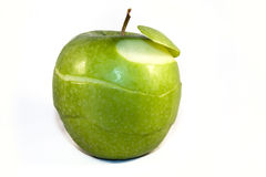 Peeled apple. Peeled Granny Smith apple isolated stock photos
