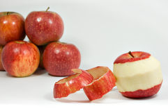 Peeled apple isolated stock photos